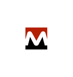 m letter cube logo vector image