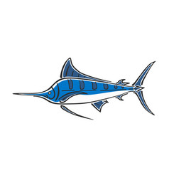 Marlin sailfish character abstract ink hand drawn vector