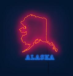 Neon map state of alaska on dark background vector