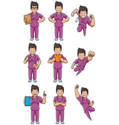 nurse asian male set vector image