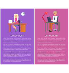 office work banners man woman at workplace vector image