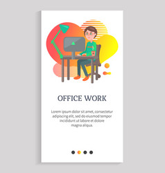 office work person working on laptop workplace vector image
