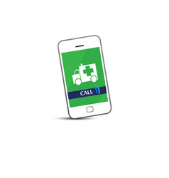 Phone call ambulance car vector