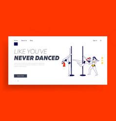 Pole dance landing page template girls pole vector