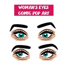 pop art cartoon comic sexy woman eyes vector image