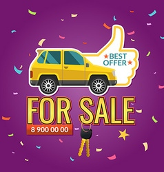 poster advertising the sale of the car bright vector image