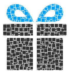 Present collage of squares and circles vector