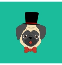 Pug in hat ang bow vector
