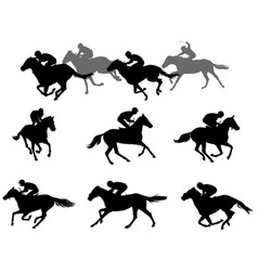 Race horses and jockeys silhouettes collection vector