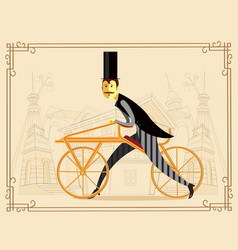 Retro bicycle draisienne or hobby horse vector