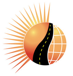 Road sun and globe logo concept of vector