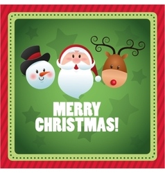 Santa snowman and deer cartoon of Christmas vector