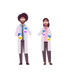 Scientists couple holding test tubes with colorful vector