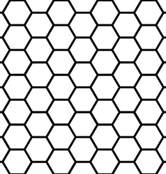 Seamless black honeycomb pattern over white vector image