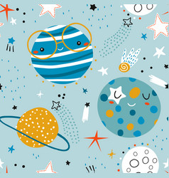 seamless childish pattern with funny planet vector image