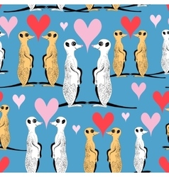 Seamless pattern of funny meerkat lovers vector image