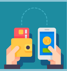 sending and receiving money with mobile phone vector image