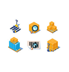 set 3d icons related to warehouse and vector image