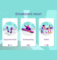 set mobile app pages about winter holidays at vector image