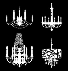 Set of chandelier icons vector image