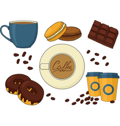 set of chocolate desserts and coffee drinks vector image