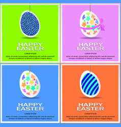 set of easter colored eggs vector image