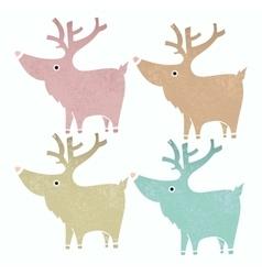 Set of four cute reindeers in gentle vintage style vector image vector image