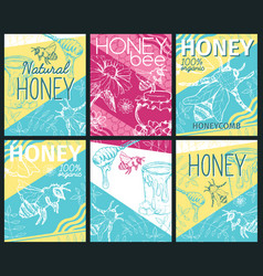set of isolated honeycomb with bees and honey vector image