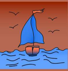 ship with scarlet sails is floating on the waves vector image