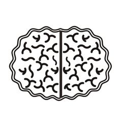 silhouette view top brain in monochrome color vector image