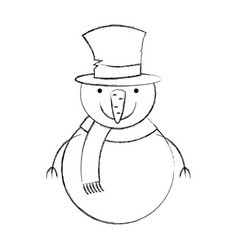 snowman christmas character icon vector image
