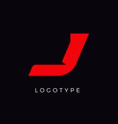 Speed letter j red race monogram logo italic vector