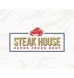 Steak House Typography Label Emblem or Logo vector