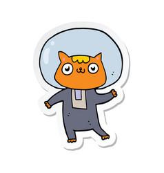 Sticker of a cartoon space cat vector
