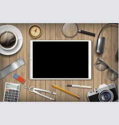 tablet with black screen and office supplies vector image