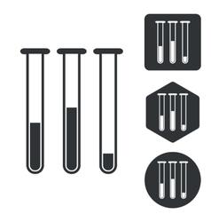 Test-tubes icon set monochrome vector image