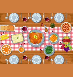 thanksgiving greeting card dinner table in flat st vector image