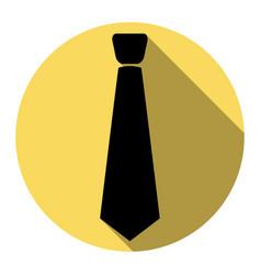 tie sign flat black icon vector image