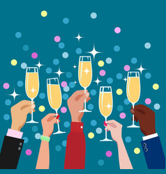 toasting hands with champagne glasses vector image
