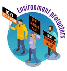 toxic waste hazards isometric background vector image