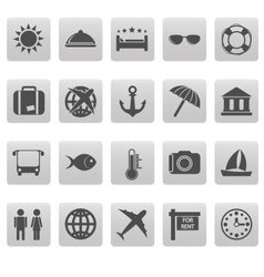 Travel icons on gray squares vector