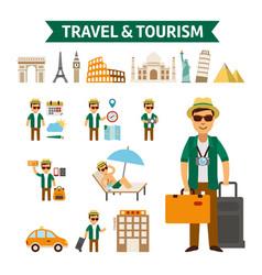Travel to world flat design vector