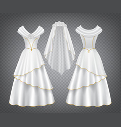 White wedding woman dress with tulle veil vector