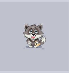 Wolf cub pup sticker emoticon extend hand vector