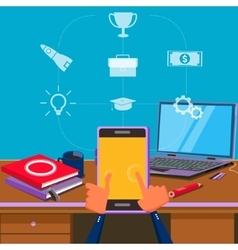 Work with smart phone gadget cartoon vector image