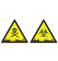 Wuhan danger emergency biological hazard signs vector
