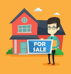 young asian realtor offering house vector image