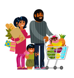 Young family with shopping bags and trolley cart vector
