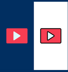 Youtube paly video player icons flat and line vector