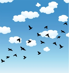 birds and clouds in the sky vector image vector image